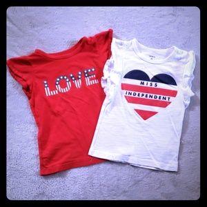Carter's 2t Girls Red, White & Blue Tee 2-pack